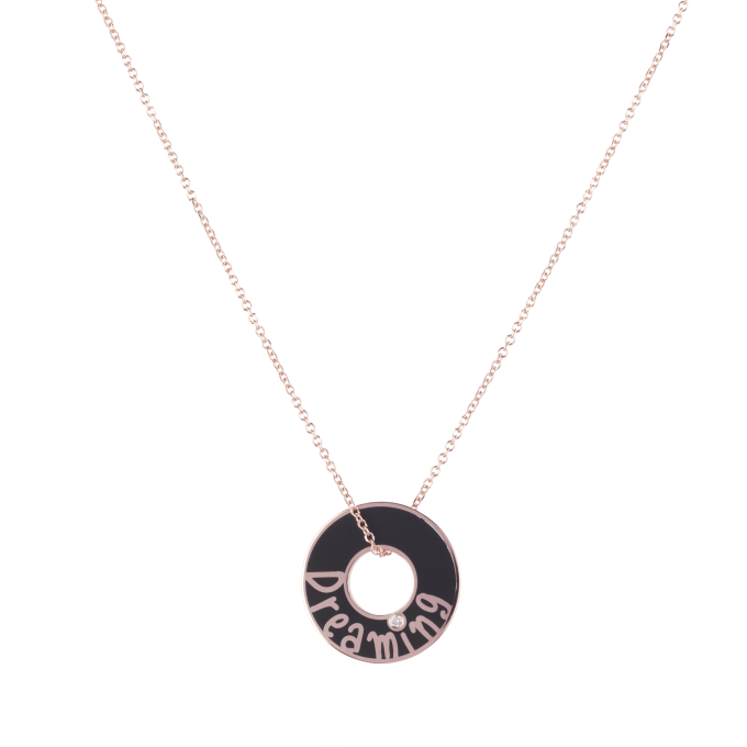 Dreaming Black Ceramic Pink Gold Necklace