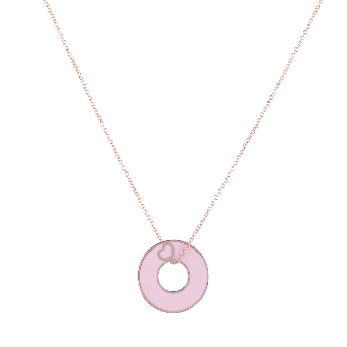 Happiness Pink Ceramic Pink Gold Necklace