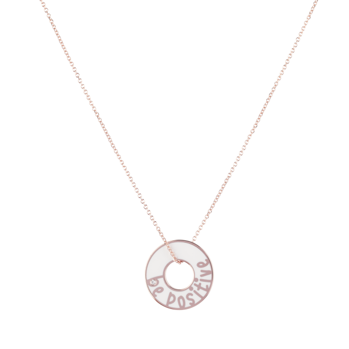 Be Positive White Ceramic Pink Gold Necklace