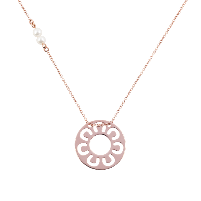 Pearls and Horseshoes in Circle Pink Gold Necklace