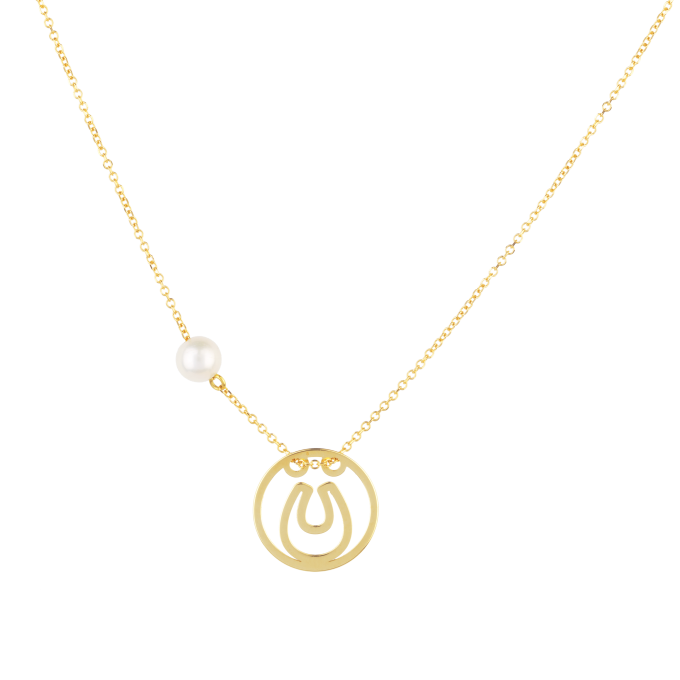 Pearl and Horseshoe In Circle Yellow Gold Necklace