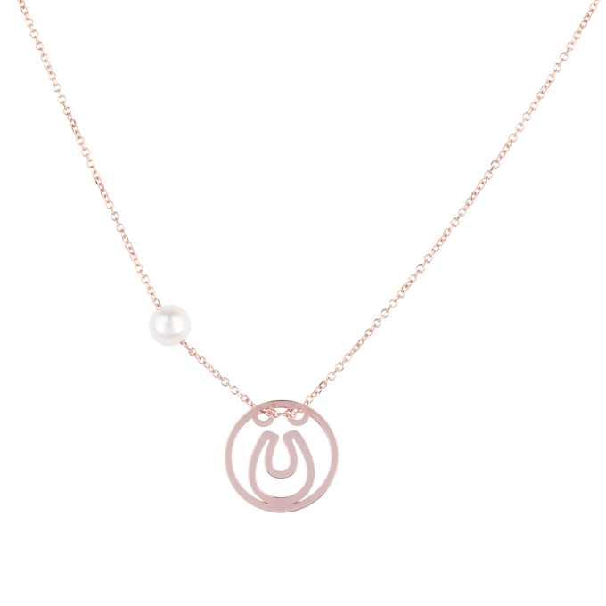 Pearl and Horseshoe in Circle Pink Gold Necklace