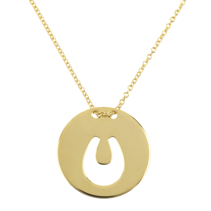 Horseshoe in Round Plaque Yellow Gold Necklace