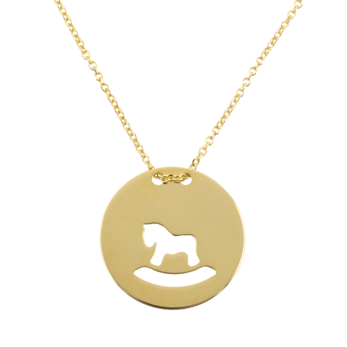 Toy Horse in Round Slab Yellow Gold Necklace