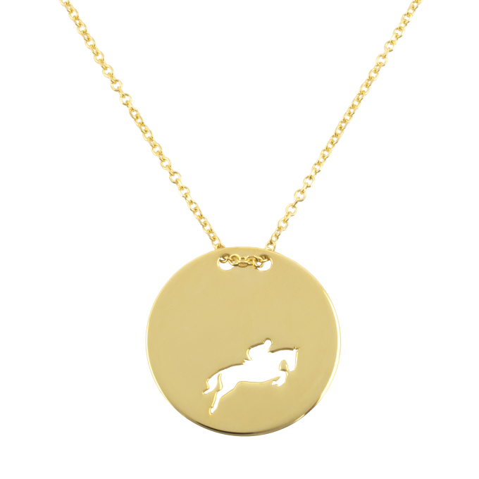 Show Jumping Amazon In Round Slab Yellow Gold Necklace