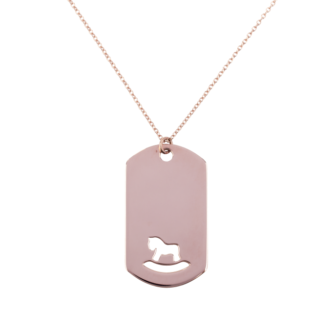 Toy Horse in an Impressive Plaque Pink Gold Necklace