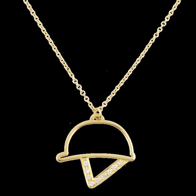 Diamond Figure Of Helmet Yellow Gold Necklace