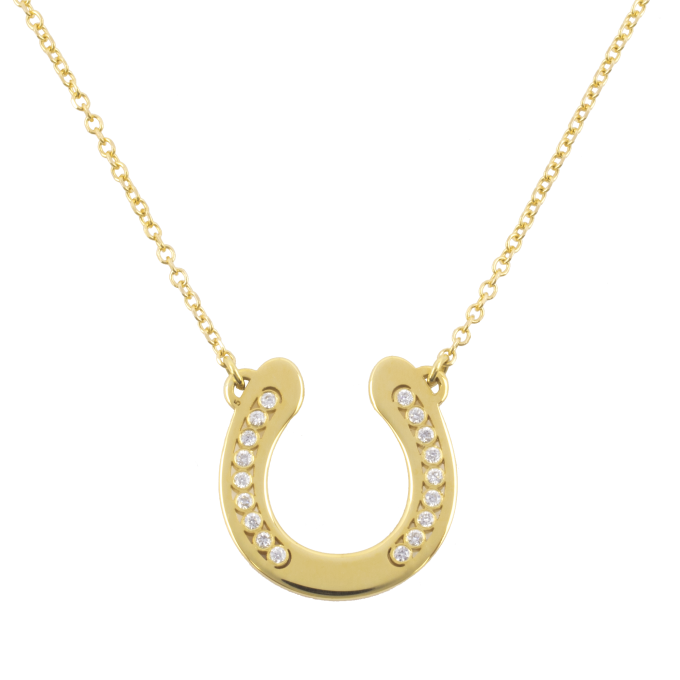 Diamond Big Horseshoe Yellow Gold Necklace