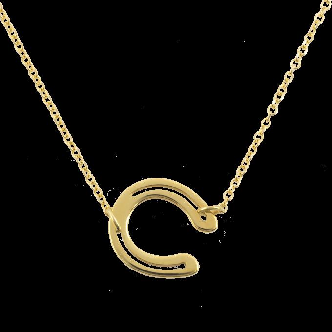 Small Horseshoe Yellow Gold Necklace