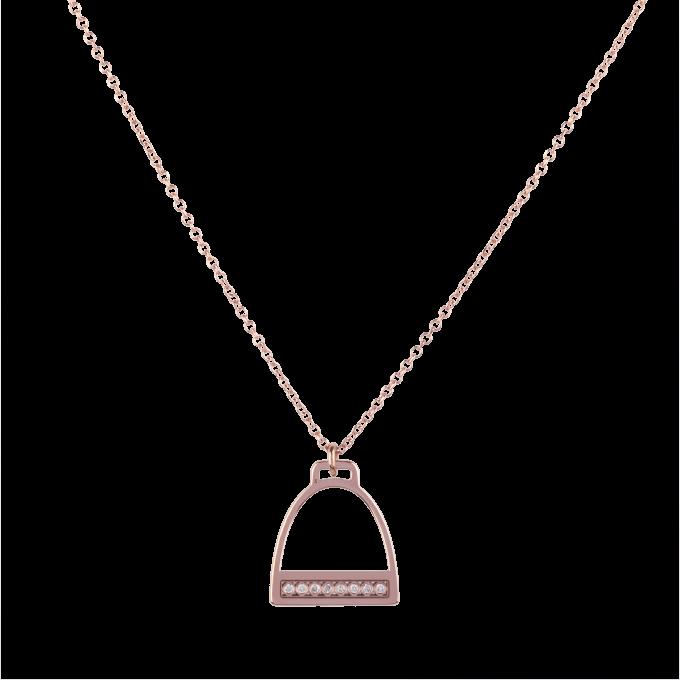 Diamond Stirrup Pink Gold Bracelet
