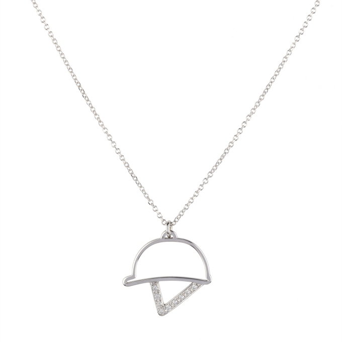 Diamond Helmet White Gold Necklace