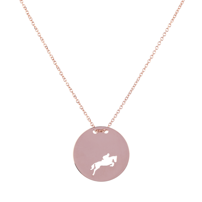 Show Jumping Amazon in Round Slab Pink Gold Necklace