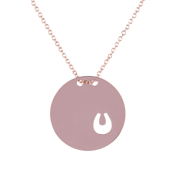 Small Horseshoe In Round Slab Pink Gold Necklace