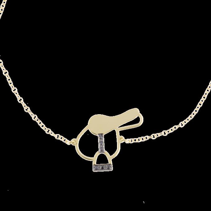 Black Diamond Saddle  Yellow Gold Bracelet