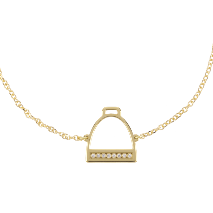 Diamond Stirrup Yellow Gold Bracelet
