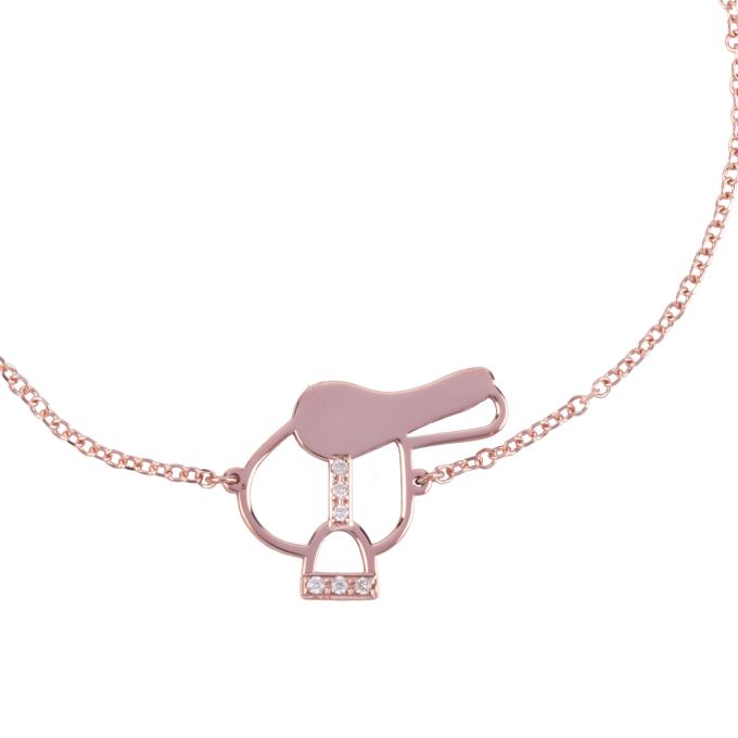 Diamond Saddle Pink Gold Bracelet