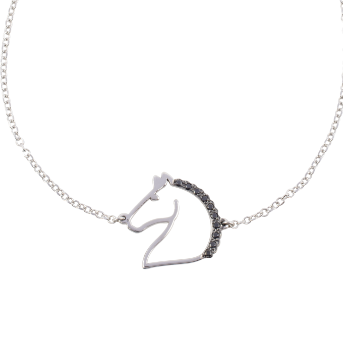 Black Diamond Horse White Gold Bracelet