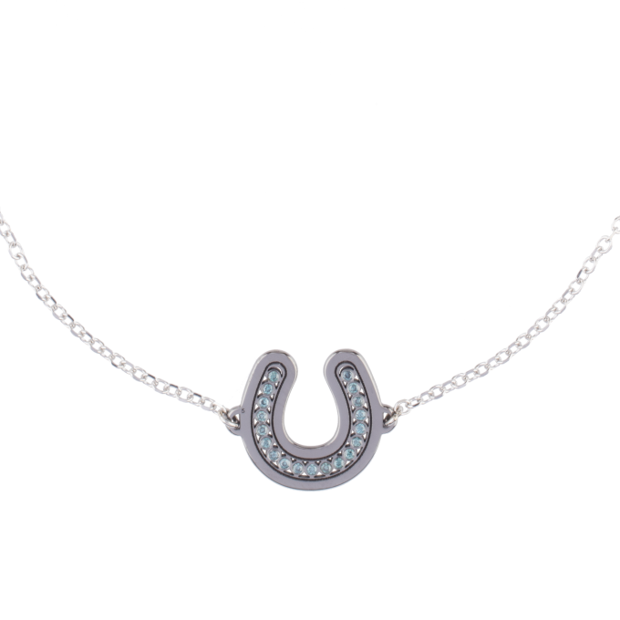 Blue Diamond Horseshoe Black Rhodium White Gold Bracelet