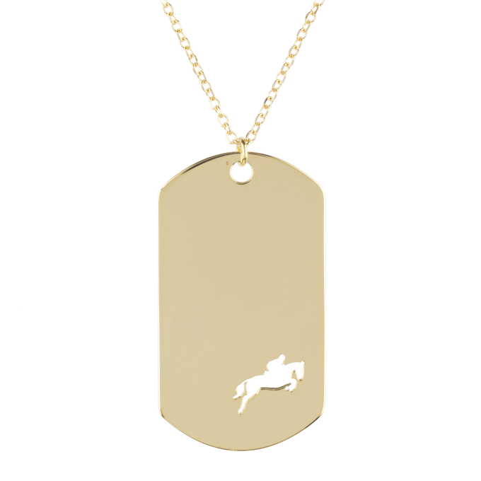 Show Jumping Amazon in an Impressive Plaque Yellow Gold Necklace