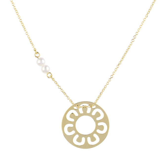 Pearls and Horseshoes In Circle Yellow Gold Necklace