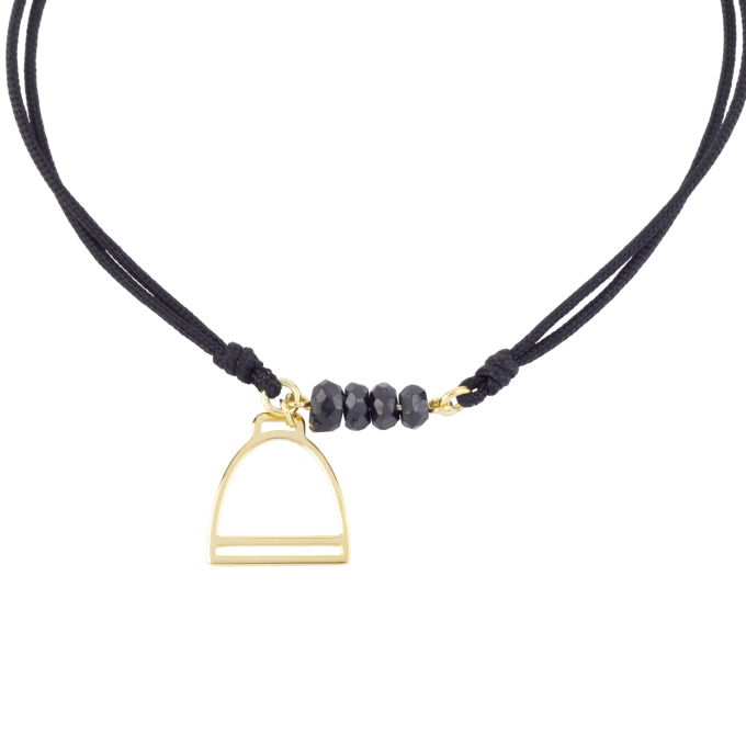Nice and Easy Black Spinels-Stirrup Yellow Gold Bracelet