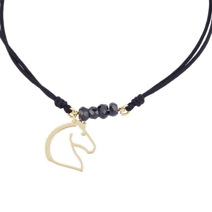 Nice and Easy Black Spinels-Horse Yellow Gold Bracelet
