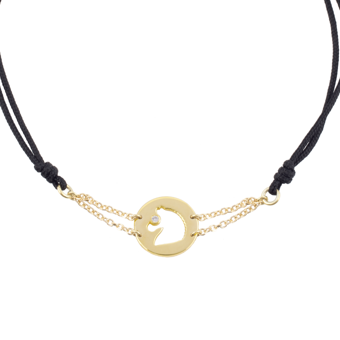 Precious and Easy Horse In Circle Yellow Gold Bracelet