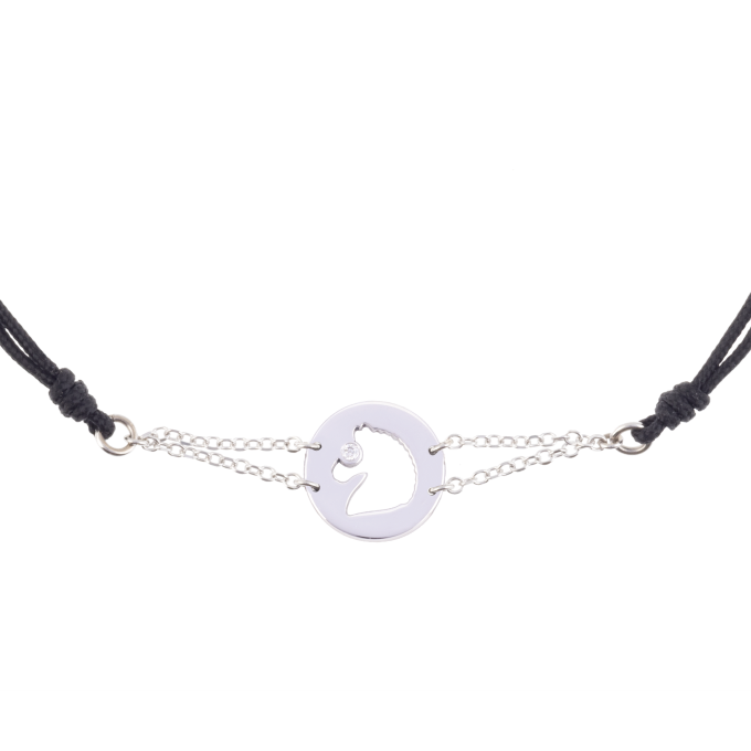 Precious and Easy Horse In Circle White Gold Bracelet