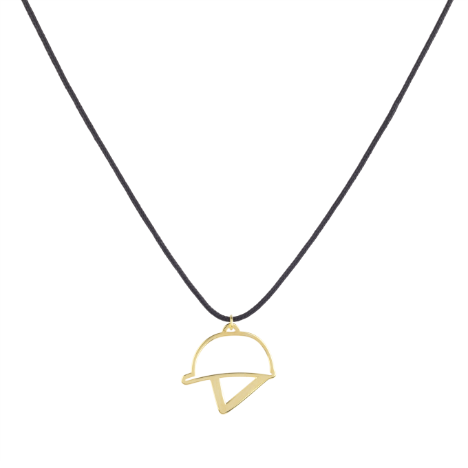 Nice and Easy Figure of Helmet Yellow Gold Necklace