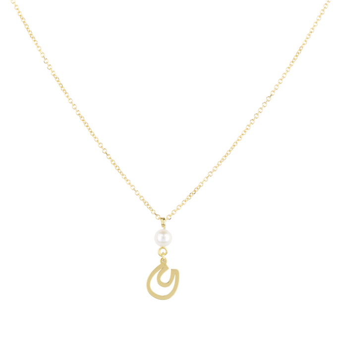 Pearl and Horseshoe Yellow Gold Necklace