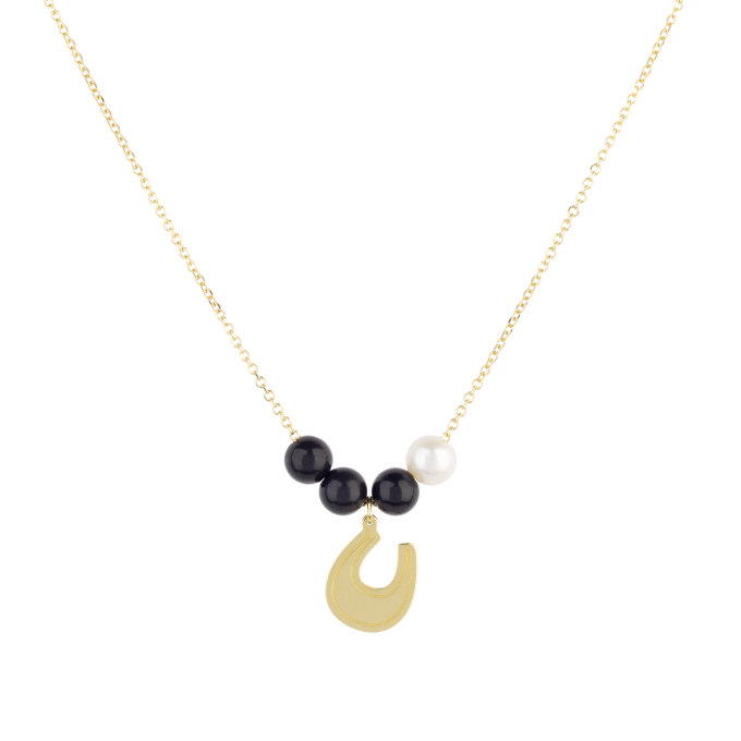 Black and White Lucky Horseshoe Yellow Gold Necklace