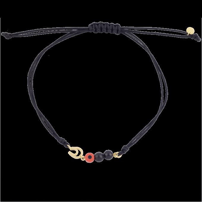 Nice and Easy Onyx and Orange Evil Eye-Horseshoe Yellow Gold Bracelet