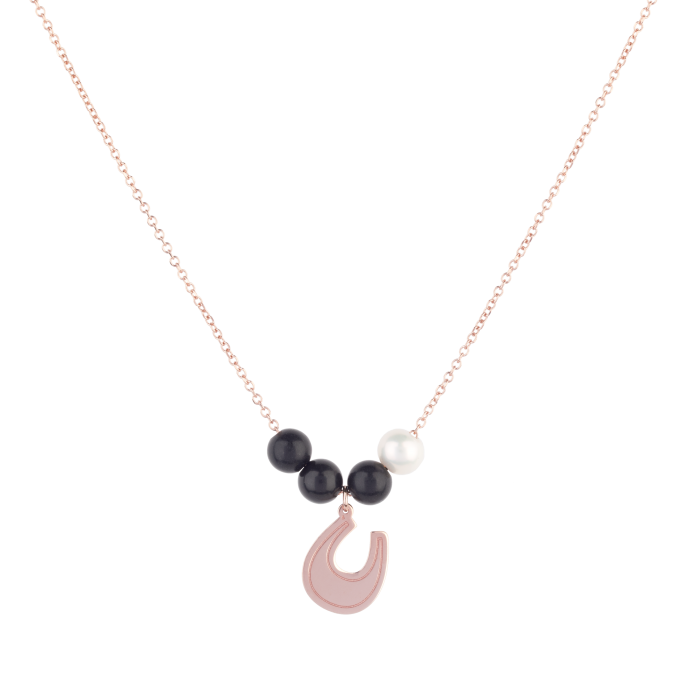 Black and White Lucky Horseshoe Pink Gold Necklace