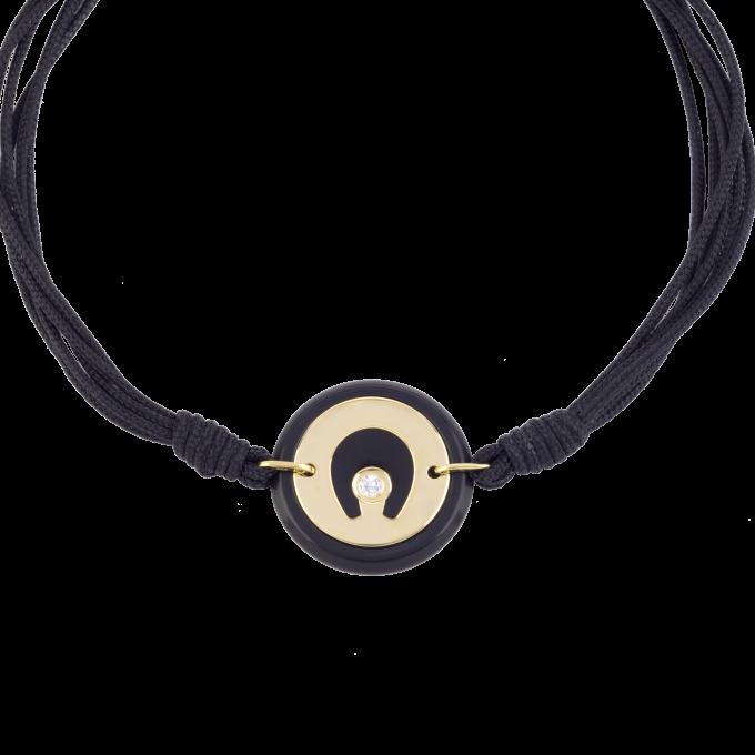 Precious and Easy Black Ceramic-Horseshoe Yellow Gold Bracelet