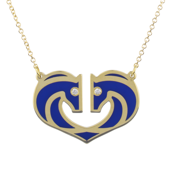 Two Horses One Heart Blue Ceramic Yellow Gold Necklace