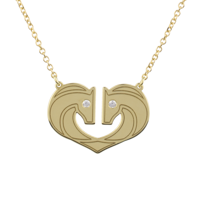 Shiny Horses In A Heart  Yellow Gold Necklace
