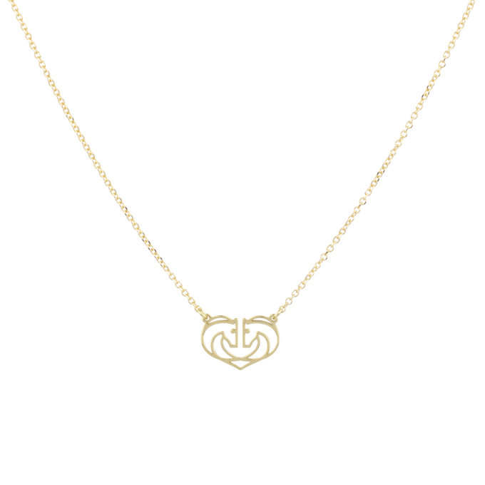 Two Horses One Heart Small Yellow Gold Necklace