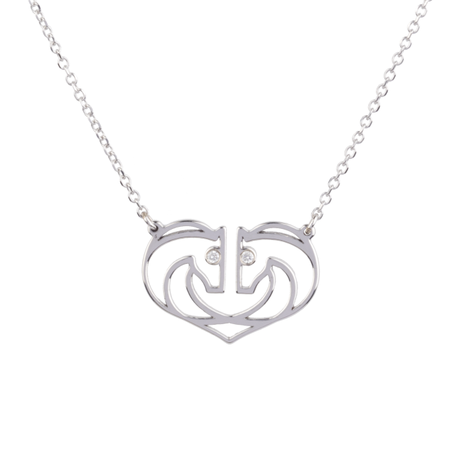 Two Horses One Heart Diamond White Gold Necklace