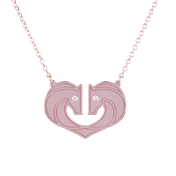 Shiny Horses In A Heart Pink Gold Necklace
