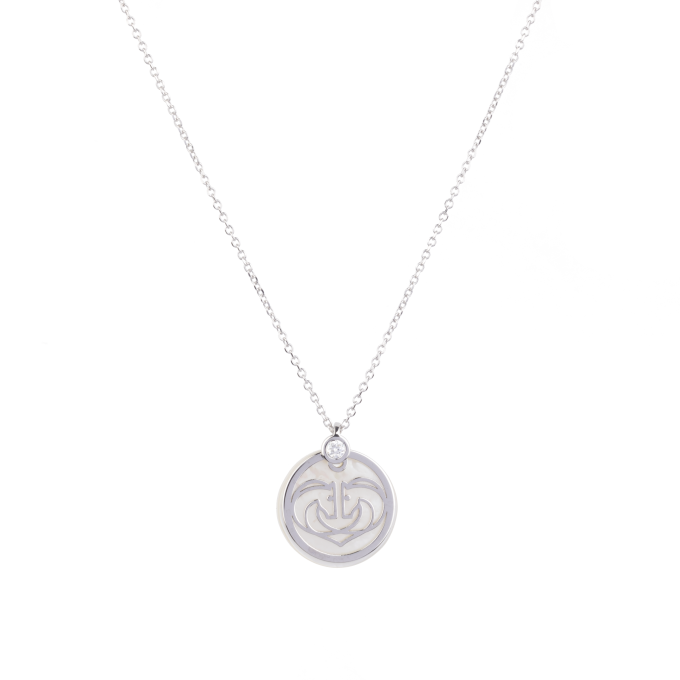 Two Horses One Heart On Mother of Pearl Diamond White Gold Necklace
