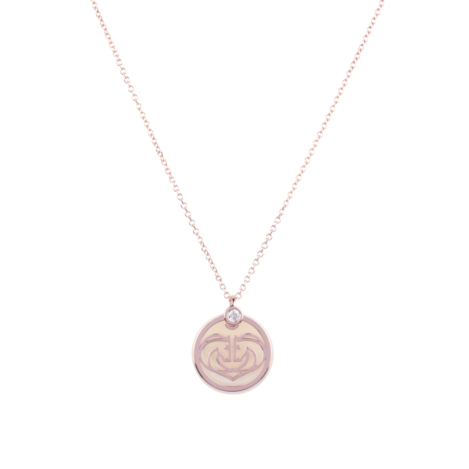 Two Horses One Heart On Mother of Pearl Diamond Pink Gold Necklace