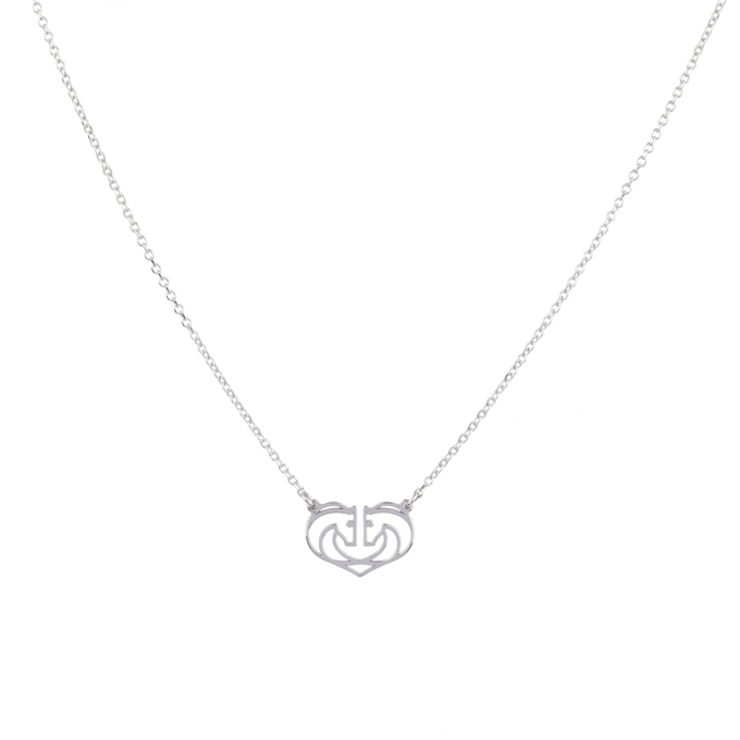 Two Horses One Heart Small White Gold Necklace