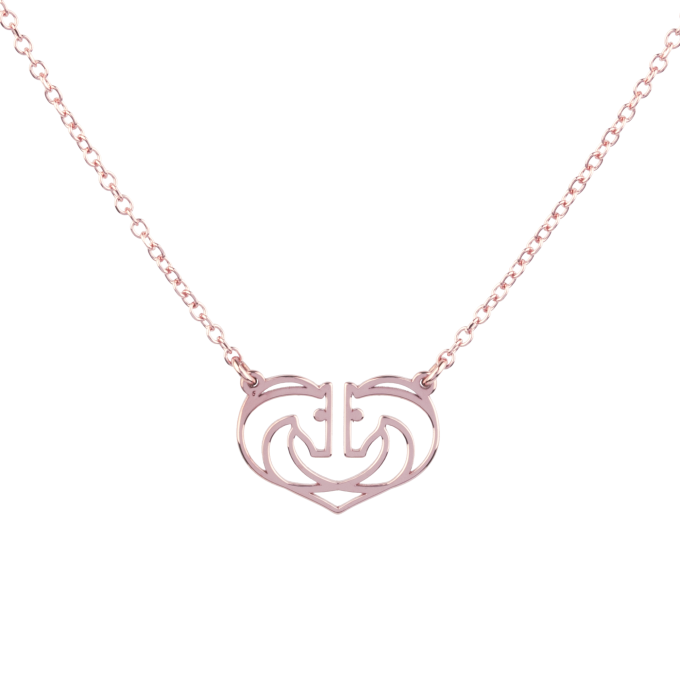 Two Horses One Heart Small Pink Gold Necklace