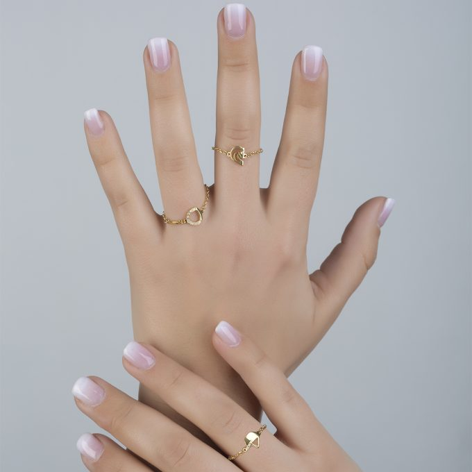 Two Horses One Heart In Half Diamond Yellow Gold Ring