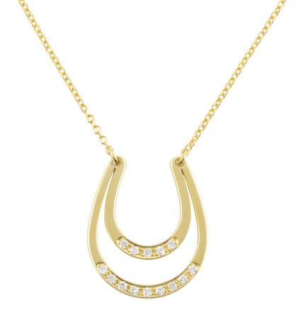 Diamond Lucky Horseshoe Yellow Gold Necklace