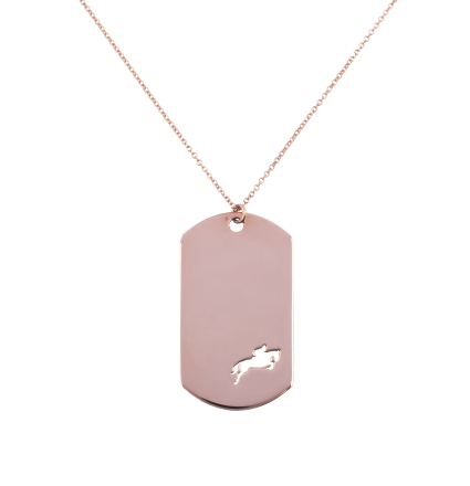 Show Jumping Amazon in an Impressive Plaque Pink Gold Necklace