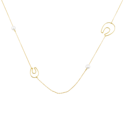 Pearls and Horseshoes Yellow Gold Necklace