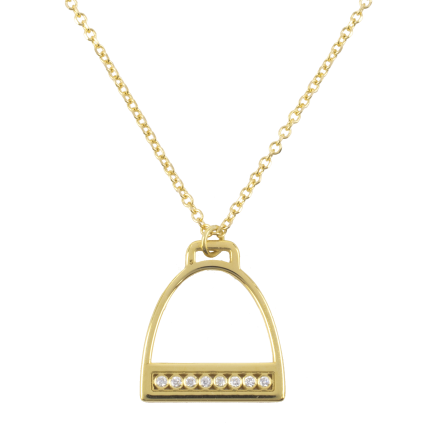 Diamond Stirrup Yellow Gold Necklace