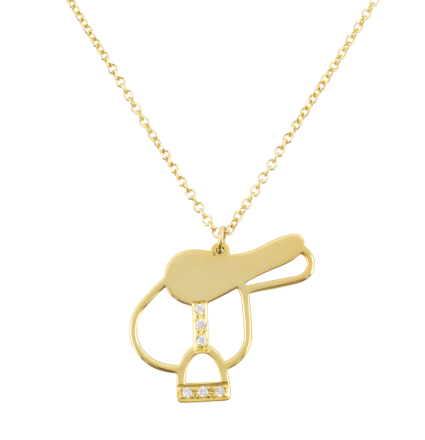 Diamond Saddle Yellow Gold Necklace