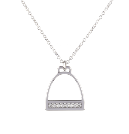 Diamond Stirrup White Gold Necklace